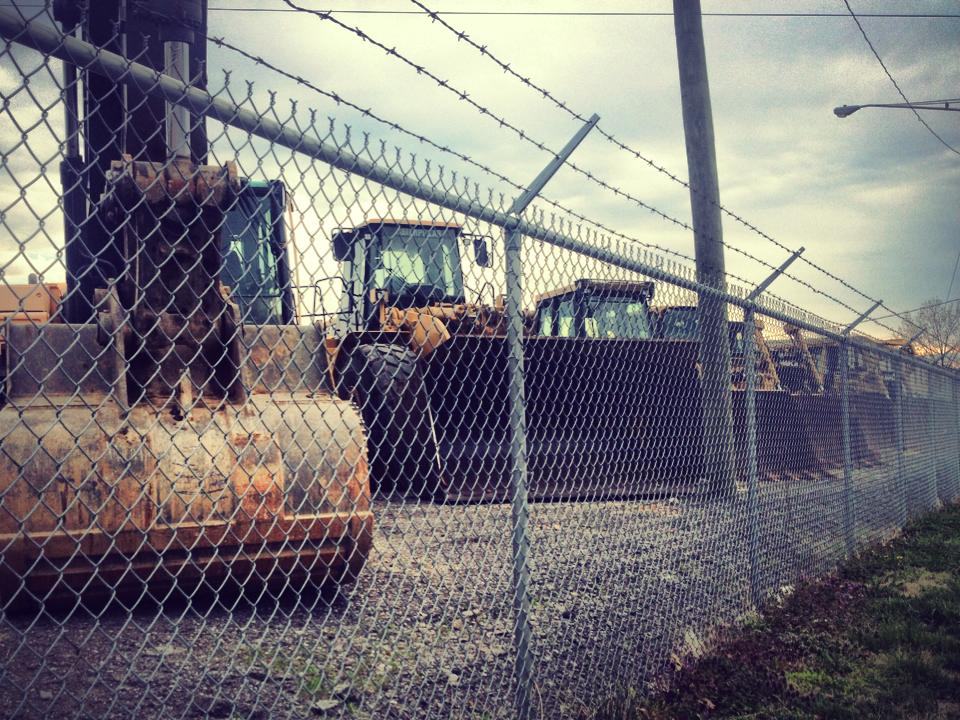 Earth movers on Davidson Ave, along the East Bank Bike Route.