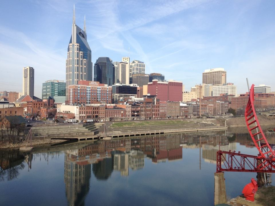 Nashville Skyline from the Shelby Street Pedestrian Bridge.