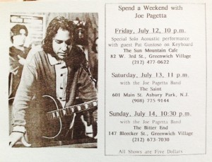 An Early Joe Pagetta Band flyer with a Bitter End gig.